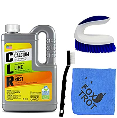 CLR Complete Cleaning Kit, Calcium Lime and Rust Removal System Includes 28oz CLR Bottle, 1 Handheld Heavy Duty Brush, 1 EZ Grip Thin Tip Vinyl Brush, 1 Professional Grade Foxtrot TM Microfiber Towel