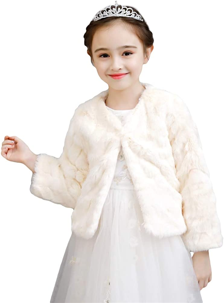 Icegrey Girls Faux Fur Long Sleeve Coat Shawl Jacket Bolero Shrug