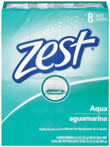 Zest 8-Bar Bath Size Soap, Aqua, 4 Ounce per bar, 8 bars, 32 Ounce
