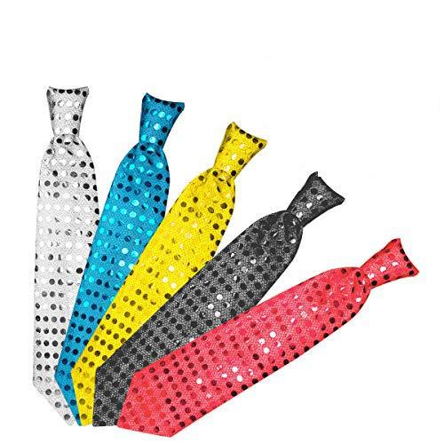 Danolt 5 Stücke LED-Blitz Krawatte Mix Farbe Glowing Tie Leuchten Spielzeug Unisex Glitter Krawatte für Kinder Party Maskerade Tanzen Bühne Weihnachten