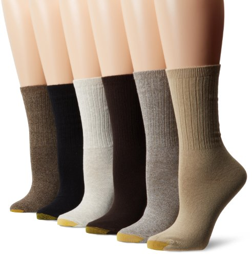 Gold Toe Women's Casual Ribbed Crew Socks, 6 Pairs, Brown 2 Mix, Shoe Size: 6-9