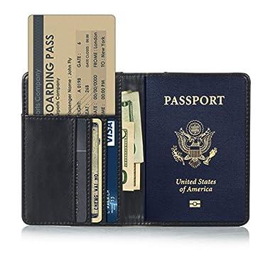 EpicGadget RFID Blocking Premium Leather Passport Holder Travel Wallet Cover Case (Black)