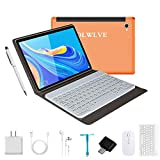 4G Tablette Tactile 10 Pouces avec Clavier FHD 4Go RAM 64Go/128Go ROM Android 9.0 Certifié par Google GMS Tablet PC Quad Core 8000mAh Dual SIM 8MP, WiFi  Bluetooth   GPS   OTG Netfilx-Orange