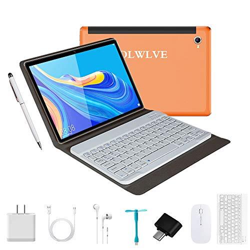 Tablet 10 Pulgadas Android9.0 - Ultrar-Rápido Tableta 4GB RAM+64GB ROM/128GB Expandido -Dual SIM Quad Core Tablets 8000mAh/WI-FI/Bluetooth/GPS,8.0 MP Tablet Android con Teclado(Naranja)