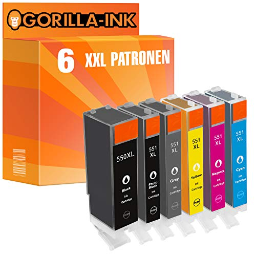 Gorilla-Ink 6 Cartuchos de Tinta Compatible con Canon PGI-550XL CLI-551XL con Gray | para Pixma IP-8720 IP-8750 MG-6350 MG-7120 MG-7150 MG-7550 | Black 25ml, Color 12ml Cada uno