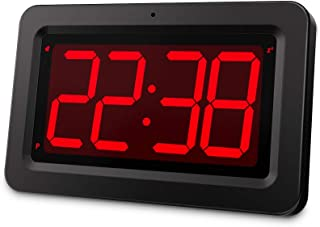 """EUTUKEY Digital Wall Clock Battery Operated, 3.2"""" Led Wall Clock, Large Digital Display, 2-Level Dimmer, Fold Out Table St..."""