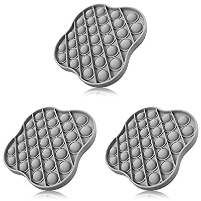 XMY Pop Bubble Sensory Toy [Food Grade Silicone] Pop Game Educational STEM Playing Board Stress Reliever Squeeze Sensory Toy for Kids Adults.(Lucky Clover Style-3pcs Gray)