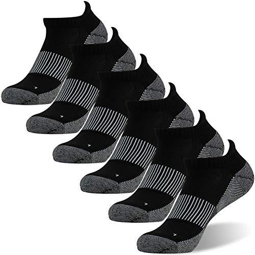 Running Socks, FOOTPLUS Unisex Super Soft Ankle Copper Golf Tennis Jogging Walking Socks, No Sweaty Feet Marathon Basketball Gym Socks, Cushioned Sole Work Standing Socks, 6 Pairs Black, XX-Large