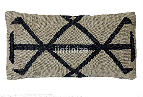 iinfinize Kilim - Juego de 2 fundas de almohada rectangulares de estilo indio, tejidas a mano, bohemio, para exteriores, cojines decorativos