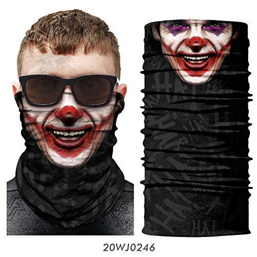 HESHU 3D Joker Bandana Bufanda Cuello Cuello Polaina Bufón Cosplay Mascarilla Joker Payaso Escudo Facial Buffs Diadema Máscara de Esquí de Halloween Hombres