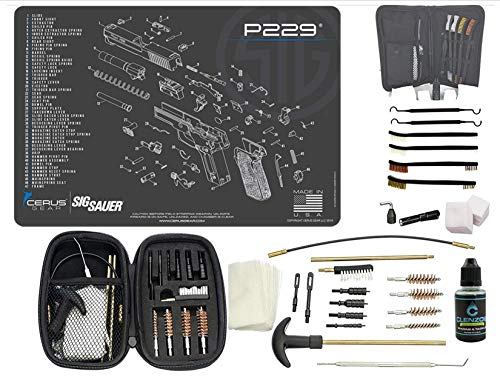 EDOG USA Promat for Use with, SIG P229 Handguns Schematic (Exploded View) 29 PC Pistol Tac Pak Cleaning Kit & 12x17 Padded Gun- Work Surface Protector Solvent & Oil Resistant