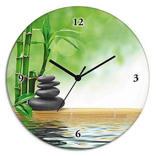 Artland Wanduhr ohne Tickgeräusche aus Glas Quarzuhr Ø 30 cm Rund Lautlos Zen Asiatisch Spa Steine See Yoga Asien Natur Design T5OP
