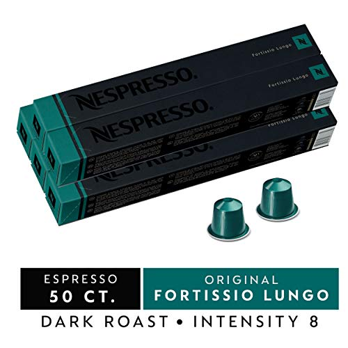 Nespresso Capsules OriginalLine, Fortissio Lungo, Dark Roast Coffee, 50 Count Coffee Pods, Brews 3.7oz