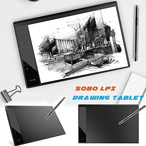 Fancylande Tablet écritoire, Tablet gráfica 6Pulgadas 8192Niveles Tablets Dibujo Tablet 5080LPI Pas besoin de Carga Pen Pen