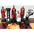 Medieval Times Crusades Knight RED & WHITE Set of Chess Men Pieces Hand Painted W/ Maltese Cross