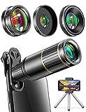 Phone Camera Lens Phone Lens for iPhone Samsung Pixel Huawei One Plus, 22X Telephoto Lens, 205° Fisheye Lens, 4K HD 0.67X Super Wide Angle Lens & 25X Macro Lens, Metal Tripod, Travel Case