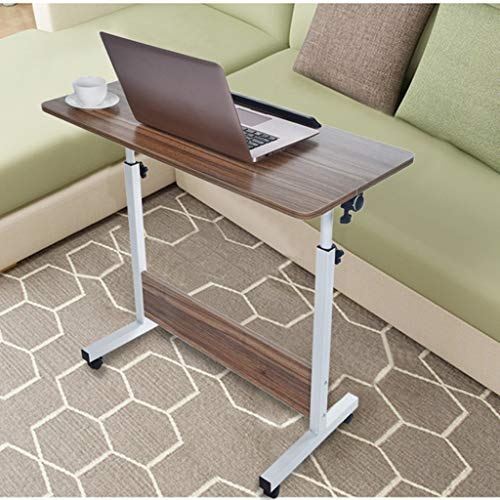 Folding Computer Desk for Home Office with Adjustable Height, Movable Rolling Side Table for Sofa Bed, Laptop Desk Table with Wheels Portable Cart Tray Workstation, 180 Rotating Flexible Standing Desk