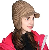 HIKARO Amazon Brand Unisex Wool Knitted Peaked Beanie Hat Insulated Warm Thermal Winter Ski Peak Cap with Lining Ear Covers