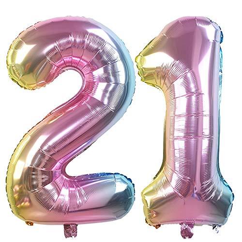 Ouinne Globo 21 Años, 32 Pulgadas Globo del Cumpleaños Número 21 Helio Globos para La Decoración Boda Aniversario (Rainbow)