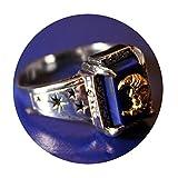 SonMo 925 Sterling Silber Ring Rechteck Lapislazuli Bicolor Mond Gott Partnerringe Vintage Siegelring Lapislazuli Silber Große:57 (18.1)