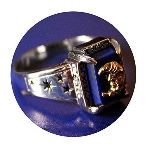 SonMo Ring 925 Sterling Silber Rechteck Lapislazuli Bicolor Mond Gott Männer Ring Biker Siegelring Herren Lapis Silber Große:62 (19.7)