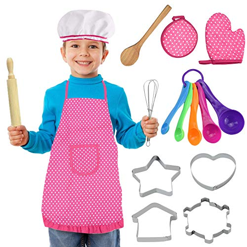 IGRMVIN 16 PCS Juego de Chef Niños para Hornear Delantales para Niños...
