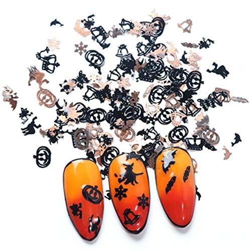 120PCS/Boxes Halloween 3D Nail Art Decals Sequin Pieces Computer Film Mixed Styles Retro Slim Black Gold Pumpkin Bat Studs Rhinestones Manicure DIY Decoration Tools