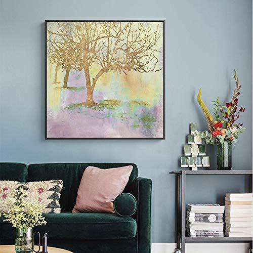 Geiqianjiumai Modern Scandinavisch landschap afdrukken abstracte rijke gouden boom canvas schilderij muurkunst afbeelding woonkamer decoratie zonder lijst
