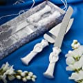 Bride and groom design cake knife-server set, 1 piece
