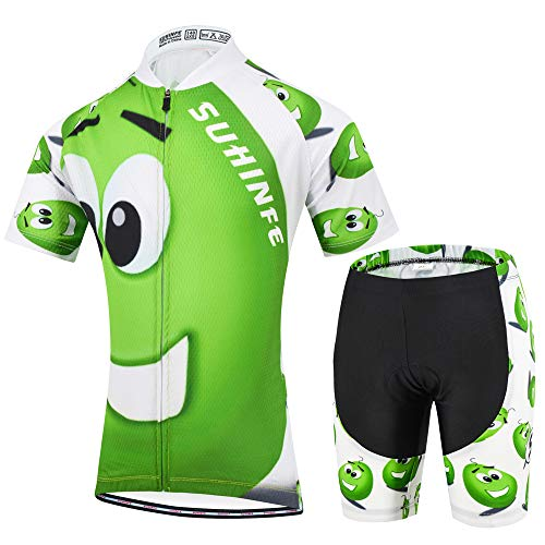 Kids Cycing Clothing, Quick Dry Cycling Jersey and Shorts for Boys and Girls, Summer