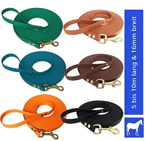 Longe Longierleine für Pferde 16mm aus Beta BioThane®, Pferdelonge für Reitsport, 6 Meter lang in Schwarz
