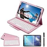 REAL-EAGLE Galaxy Tab A 10.1 Teclado Funda(QWERTY), Funda de Cuero con Desmontable Inalámbrico Bluetooth Teclado para Samsung Galaxy Tab A6 10.1 2016 SM-T580/T585/T580N/T585N Tablet, Pink