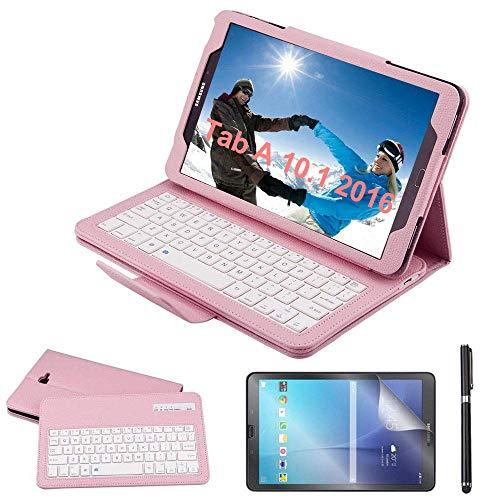 Custodia Galaxy Tab A 10.1 Bluetooth Tastiera con screen protector & stylus, REAL-EAGLE Pelle PU Custodia con Wireless Staccabile Keyboard per Samsung Galaxy Tab A6 10.1 2016 SM-T580 T585, Pink
