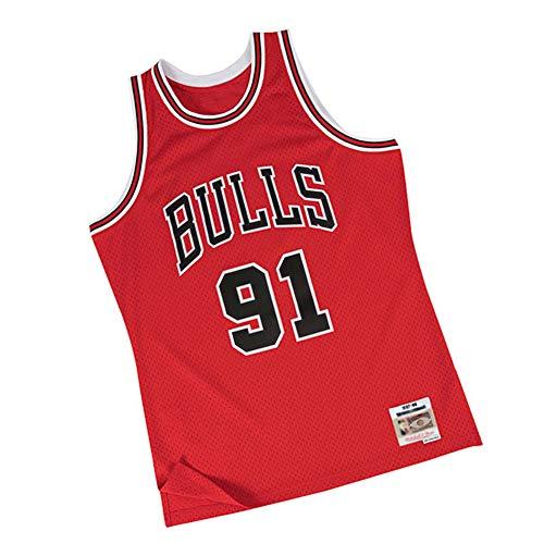 Dennis Rodman Camiseta de Baloncesto Chicago Bulls, 91# Throwback Soul Swingman Camiseta de Hombre. para Hombres, Mujeres y jóvenes 90S Hip Hop Ropa para Fiesta-Red-S
