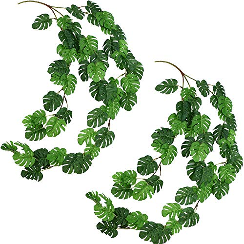 FiveSeasonStuff 2 Pcs Mini Monstera Leaves Garland Artificial Silk Leaf Vine(3.4 metres) Hanging Garland for Wall Decoration, Wedding, Bridal, Wreaths (Mini Monstera Leaves 2pcs)