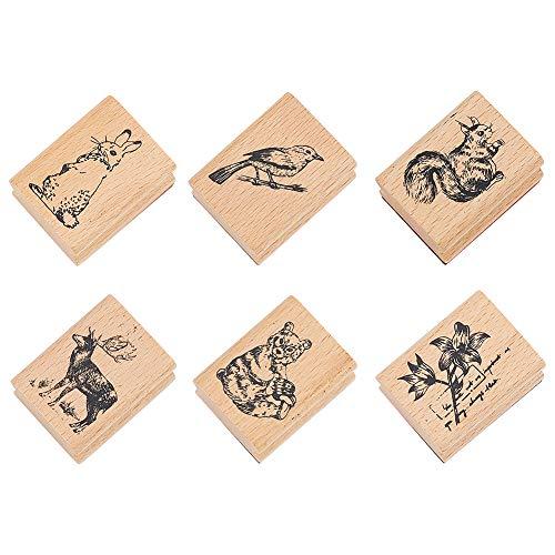 NBEADS Timbri in Gomma Animali in Legno, 6 Pz Timbri in Legno con Sigillo in Gomma Modello con Coniglio Orso Uccello Fiore Scoiattolo Renna per Scrapbooking E Decorazione di Carte Fai da Te
