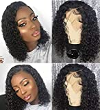 BLY Short Curly Bob Wigs Brazilian Virgin Human Hair Lace Front Wigs Kinky Curly Hair 13x4 Lace Part 150% Density Pre Plucked with Baby Hair (10 inch, Kinky Curly Bob)
