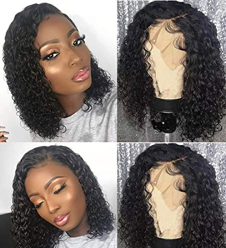 BLY Short Curly Bob Wigs Brazilian Virgin Human Hair Lace Front Wigs Kinky Curly Hair 13x4 Lace Part 150% Density Pre Plucked with Baby Hair (8 inch, Kinky Curly Bob)