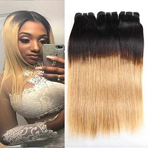 Huarisi Ombre Gerade Bündel 1b 27 menschliches Haar blondes Brasilianisches Jungfrau Haar Webarten Verlängerungen Ombre Blonde Human Hair Bundles 12 14 16 zoll