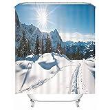 Rubyia 180x180 Duschvorhang, Schnee Berg Bäume Sonne 3D Muster Bad Vorhang mit Haken, Polyester, Weiß