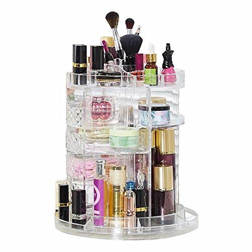 SLHP Kosmetik Organizer Multifunktionale Make up Aufbewahrungsbox 360 Grad Drehbarer Acryl Kosmetik Aufbewahrung Einstellbarer Kosmetikorganizer (Transparent 2)