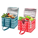 MaidMAX Reusable Insulated Grocery Box with Zippered Top, Shopping Tote Bag Cooler Bag for Food Transport, Travel, Picnic or Camping, Set of 2