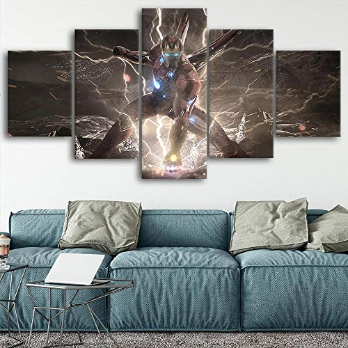 baixiangguo Superherocanvas Wall Art 5 Pieces Framed Modern Painting Decoration Hd Print Contemporary Art Hanging Decorations at Home Stretched and Ready to Hang-60 W X 32' H