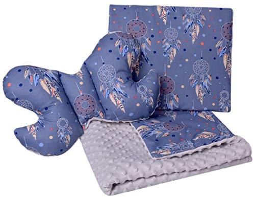 Babydeken kruipdeken set 3-in-1 100% katoen MINKY kinderdeken 55x75 + 35x30cm plat kussen en anti-shock kussen vlinder Medi Partners (dromenvanger met grijze minky)