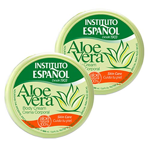 2 x 400 ml Instituto Espanol Aloe Vera Körpercreme Gesichtscreme Handcreme 100% natürliches Aloe Vera Bodycreme