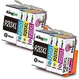 Kingjet 920XL Cartucce Sostituzione per HP 920 920 XL Cartucce d'inchiostro per HP Officejet 6500 A 6500 7500A 7500 E910 6000 7000 6500A (2 Nero/2 Ciano/2 Magenta/2 Giallo)