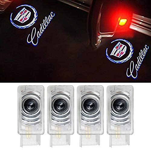 Grolish Cadillac Car door LED Logo Projector Lights Courtesy Welcome Lights For Cadillac SRX XTS XT5 ATS (4 Pack)