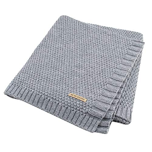 Tomwell Baby Schlummersack Gestrickt Wickeln Swaddle Decke Swaddle Empfangen Decken für Neugeborene Jungen Mädchen Kinder Grau 100X80 cm