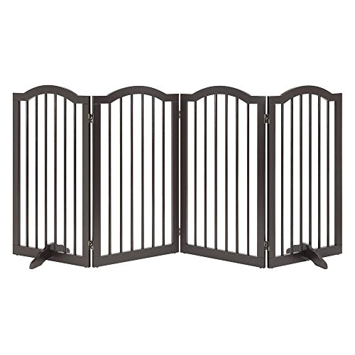 unipaws Freestanding Arch Step Over Dog Gate with Support Feet, Assembly-Free, Sturdy Wooden Structure, Foldable Design, Espresso (4 Panels, 20 inches Wide, 36 inches High)