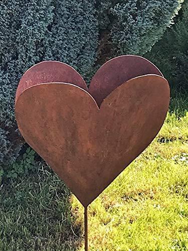 Edelrost Gartenstecker Herz groß befüllbar Gartendeko Rostherz
